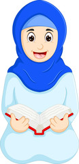 islamic woman reading book cartoon