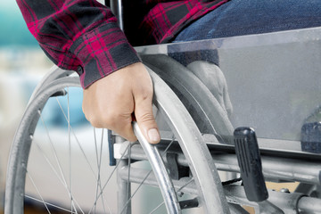 Disabled man using a wheelchair