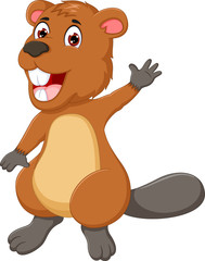 funny marmot cartoon waving hand with smiling
