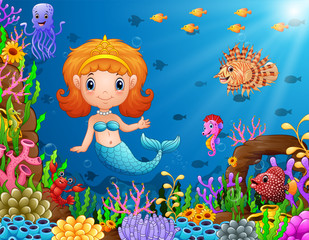 Cartoon little mermaid underwater