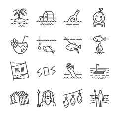 Island survival line icon set. Included the icons as survivor, fishing, island, shelter, sos sign, raft, message in a bottle and more.