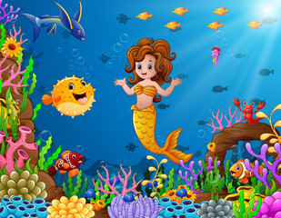 Cartoon mermaid underwater