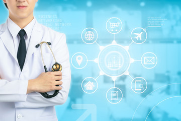 Doctor holding stethoscope hospital. interface as medical concept