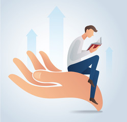 man reading book and sitting on big hand vector illustration