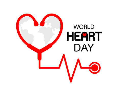 World Heart Day icon design. Stethoscope in heart shape. Health care concept. Vector illustration isolated on white background.