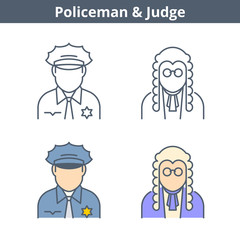 Occupations colorful avatar set: judge, policeman. Flat line professions userpic collection. Vector thin outline icons for user profiles, web design, social networks and infographics.