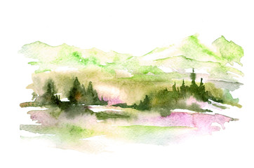 Watercolor picture of mountains, forest with pine trees, fir, cedar. Abstract vintage spots of blue, green, yellow. On a white background. Postcard, picture, poster, logo.