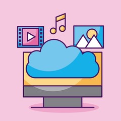 cloud computing monitor pc music video play picture apps web vector illustration
