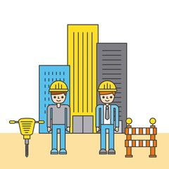people construction building tools design image vector illustration