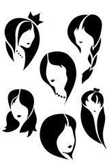 Kit pattern feminine image.Vector / vector illustration of the kit pattern feminine hairstyles