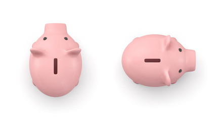 3d rendering of a pink ceramic piggy bank in top view isolated on white background.
