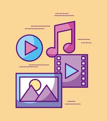 multimedia video music picture play desing vector illustration