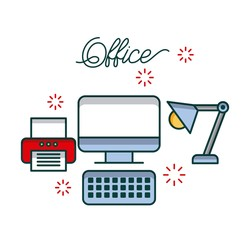 office computer device printer and desk lamp light work image vector illustration