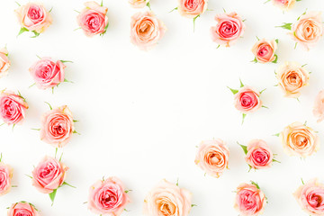 Frame of pink rose on white background. Flat lay