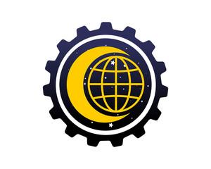 globe earth crescent moon gear night space icon logo vector