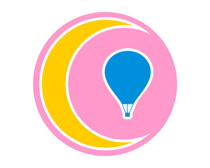 circle pink crescent moon blue silhouette air balloon icon image