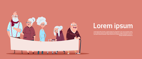 Group Of Senior People Holding Empty Banner With Copy Space Modern Grandfather And Grandmother Full Length Flat Vector Illustration