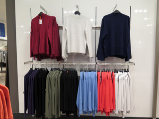 Clothes for sale in department store