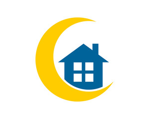 blue house home silhouette crescent moon