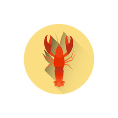 Lobster Icon Sea Food Street Meal Concept Flat Vector Illustration