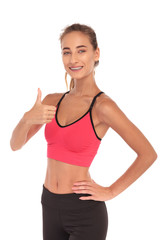 happy fitness instructor making the ok sign