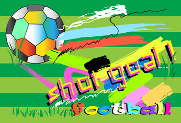colorful football art  and brush style