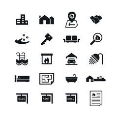 Real Estate icons on White Background. Vector illustration. EPS 10