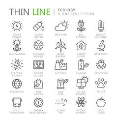 Collection of ecology thin line icons