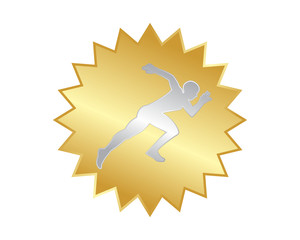 golden silver runner athlete sports silhouette icon vector