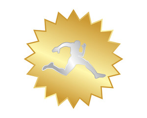 golden runner athlete sports silhouette icon vector