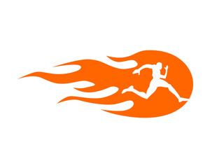 burning fire runner athlete sports silhouette icon vector