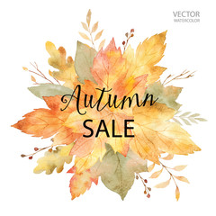 Watercolor vector banner autumn sales isolated on white background.