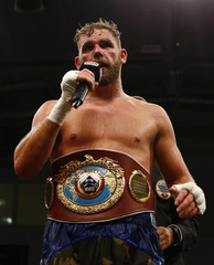 Billy Joe Saunders celebrates his win