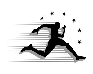 black runner athlete sports silhouette icon vector