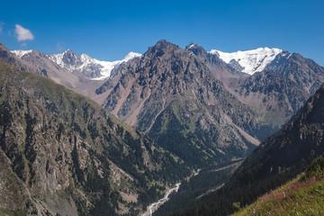 Beautiful mountain view with snow of Tien-Shan mountain. Kazakhstan