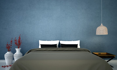 The interior design of minimal bedroom and blue texture wall design / 3D rendering
