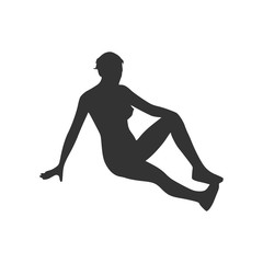 Vector illustration of a woman lying on the floor isolated over a white background. Relaxing pose