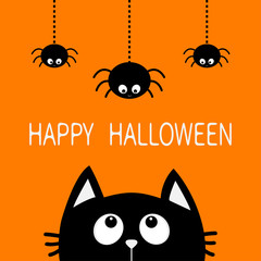 Happy Halloween. Black cat face head silhouette looking up to three hanging on dash line web spider insect. Cute cartoon character. Baby pet animal collection. Flat design Orange background.