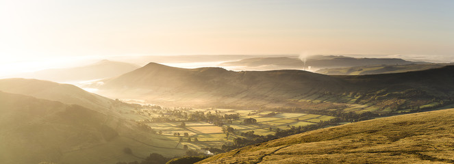 Edale valley from Grindslow Knoll in the Peak District UK