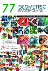 Mega collection of geometric abstract background templates - line, square, rectangle and arrow pattern design elements