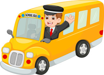 driver school bus cartoon waving hand with smiling