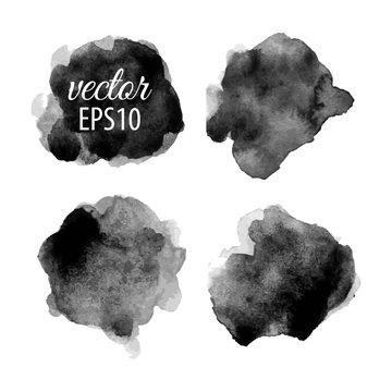 Set of abstract black ink blots