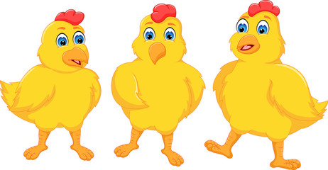 Three yellow chickens with happily cartoon