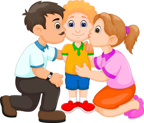 Husband and Wife Kissing Their Son cartoon