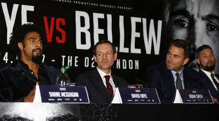 (L-R) David Haye, Sky Sports' Adam Smith, Promoter Eddie Hearn and Tony Bellew during the press conference