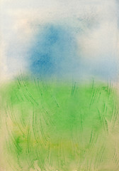 Watercolor simple abstract meadow, field background