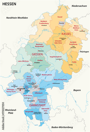 Hesse administrative and political map in german language ...
