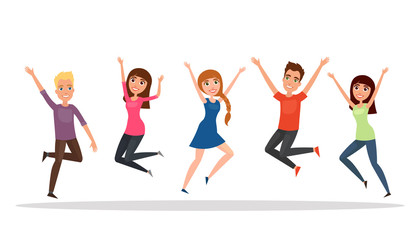 Happy group of people, boy, girl jumping on a white background. The concept of friendship, healthy lifestyle, success. Vector illustration in a flat and cartoon style