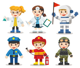Kid Set of different professions. Doctor, Scientist, Soldier, Astronaut, Police, Fireman. Vector illustration in a flat style
