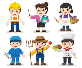 Kid Set of different professions. Artist, Teacher, Mechanic, Engineer, Chef, Farmer. Vector illustration in a flat style